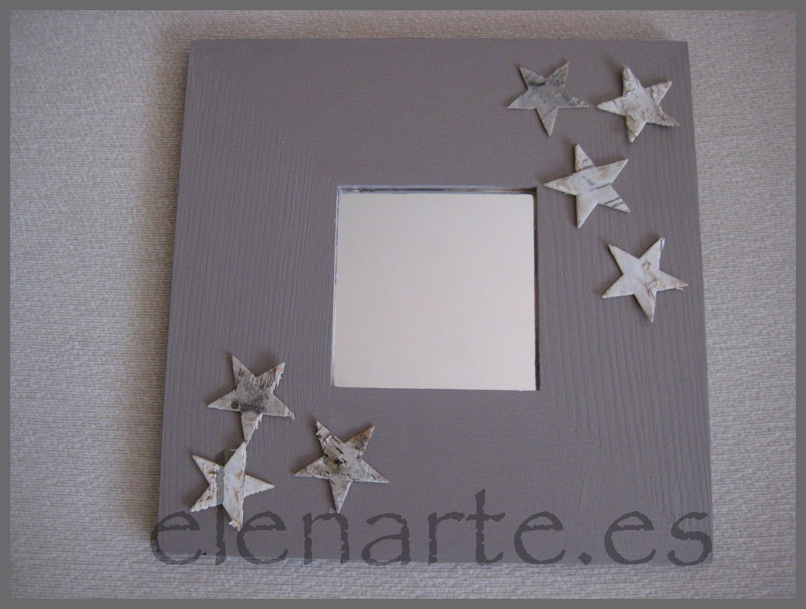 espejo malma de ikea pintado en tonos grises y decorado con estrellas de corteza de rbol es el malma ms rstico que hemos realizado hasta ahora