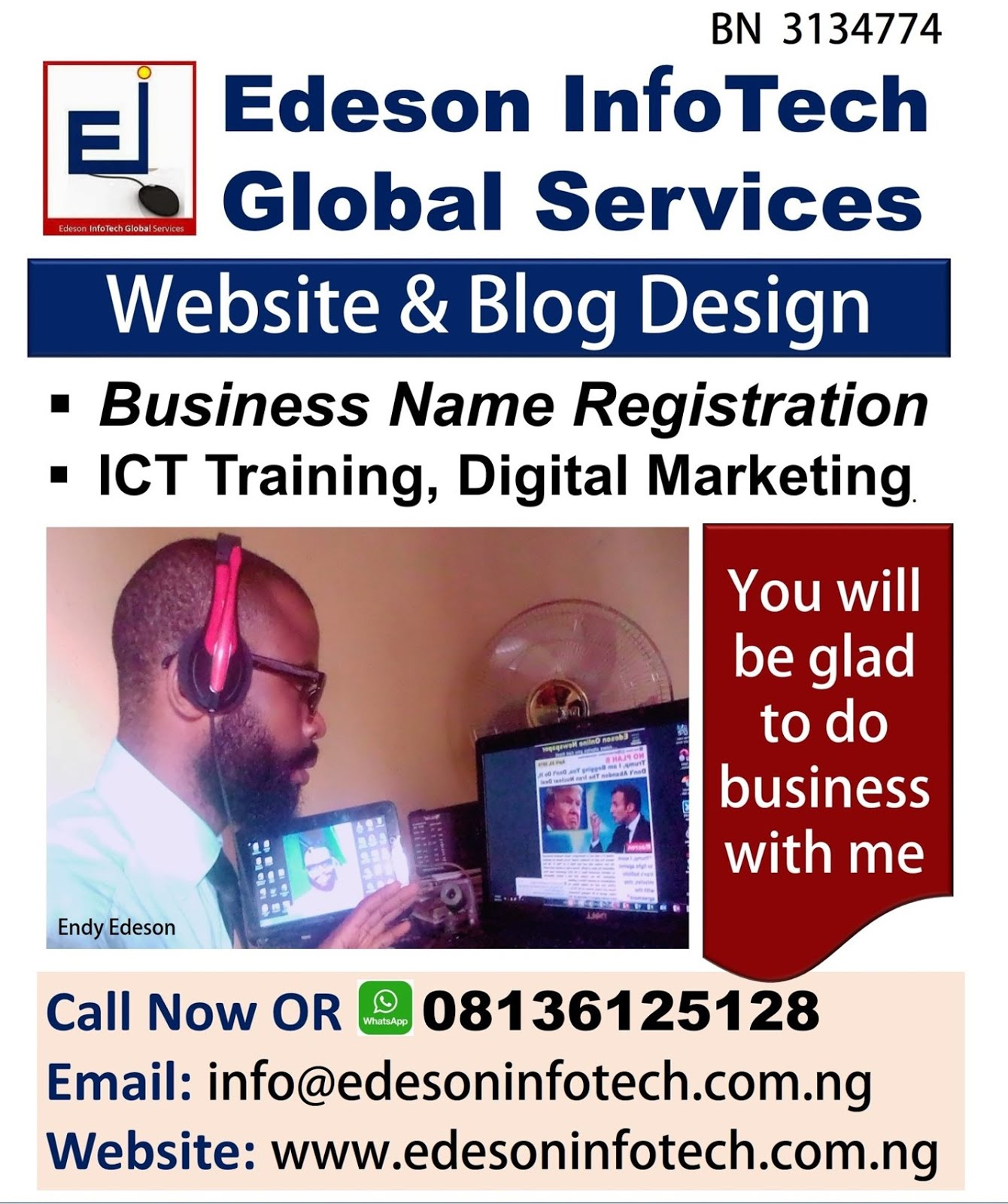 I Design Websites, I Register Business Name At Corporate Affairs Commission