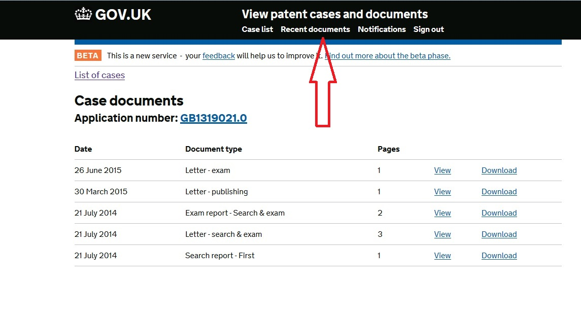 patent application serial number search