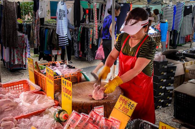 Buying chicken meat in Pohang Korea
