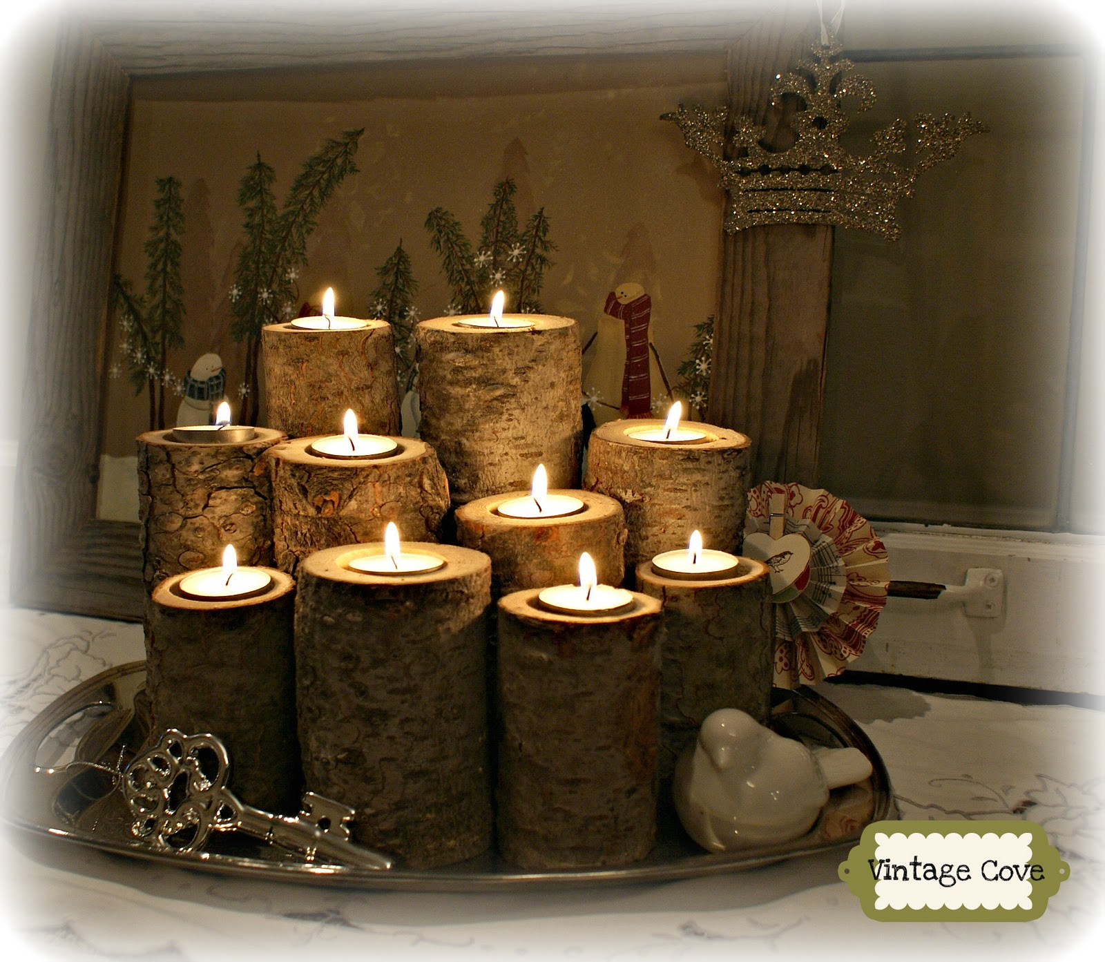 Vintage cove fir log tea light candles for Log candle holder how to make
