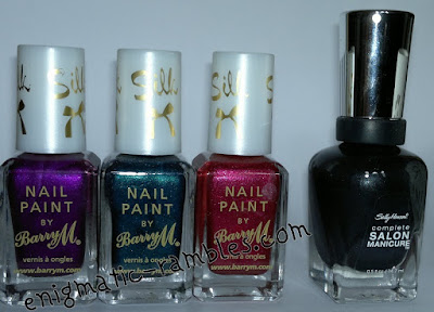 barry-m-silk-nail-paint-polish-orchid-poppy-forest-sally-hansen- black-platinum