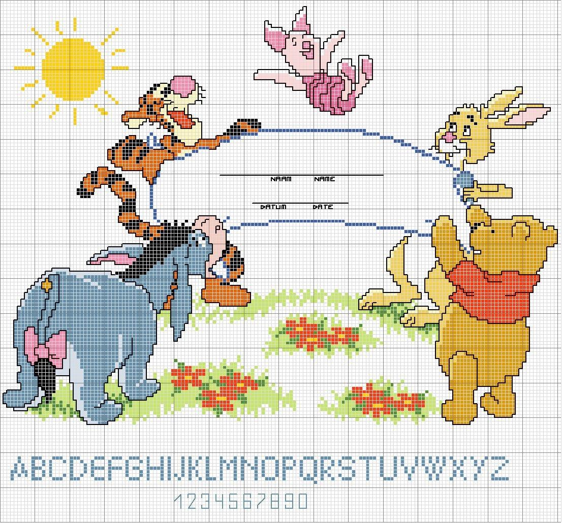 Creando ricamando schemi disney winnie the pooh for Punto croce disney winnie the pooh