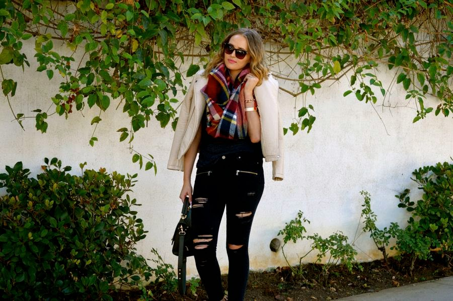 Fall Street style-LA fashion blogger-Golden Divine blog- Marshalls Ankle Boots- Zara Leather Jacket- Zara Plaid Scarf- Zac Posen Bag