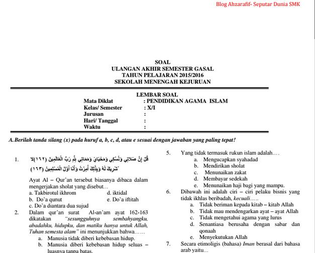 Soal Uas Gasal Pendidikan Agama Islam Pai Smk Blog Seputar Dunia Pendidikan