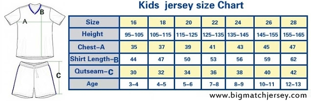 Size Ukuran Jersey Grade Ori Kids atau Untuk Anak - anak