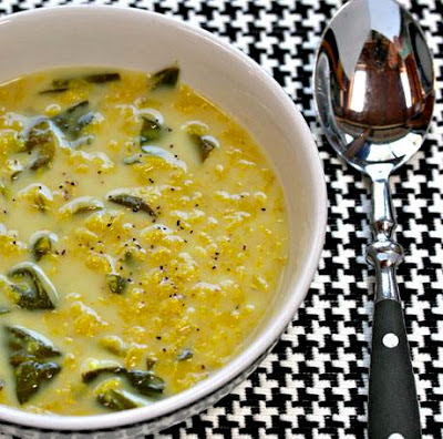 Slow Cooker Yellow Lentil and Spinach Vegan Soup from Soup Chick found on SlowCookerFromScratch.com