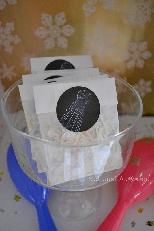 colorful and glittery new year's eve party confetti bags