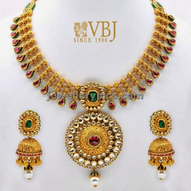 vbj antique gold kundan set