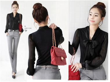 Black Ribbon Blouse RM30