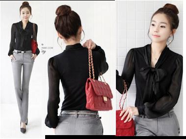Black Ribbon Blouse RM30