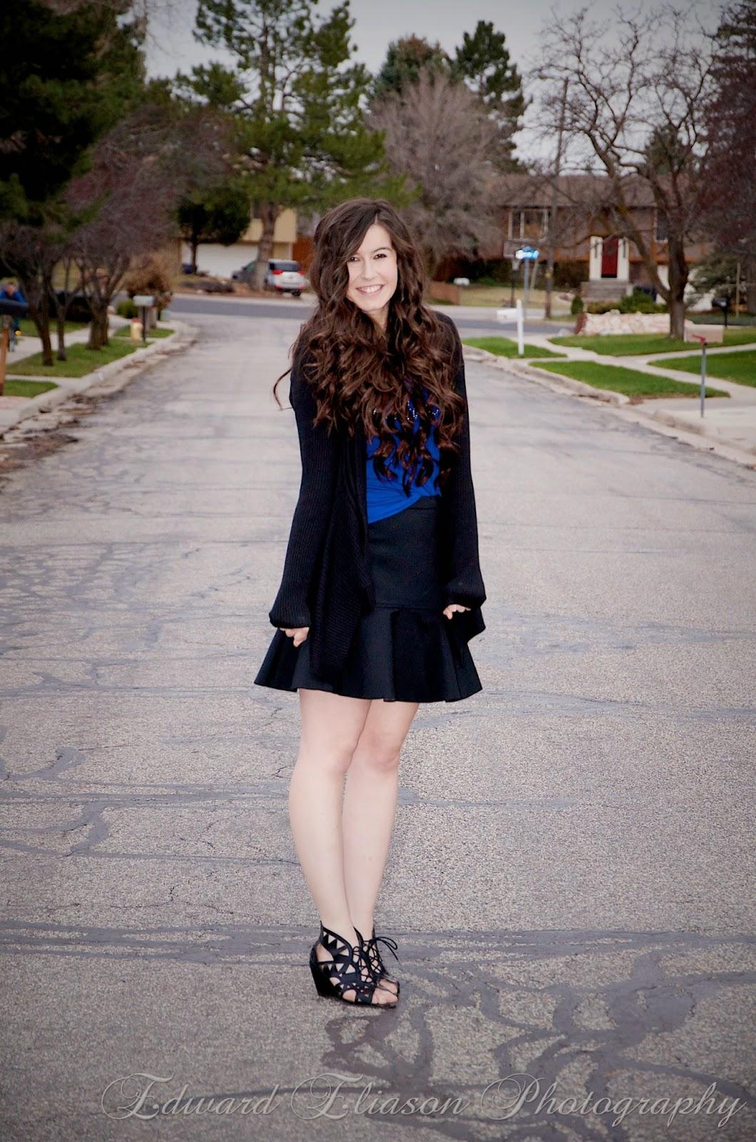 flounce skirt, kohls, pop of blue, cut out wedges, macys, wedges, flared skirt, pop of blue,