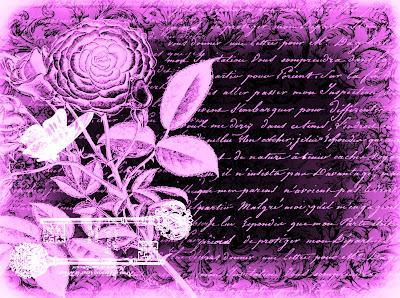 fondo vintage flores, mariposa y letras en tonos magenta