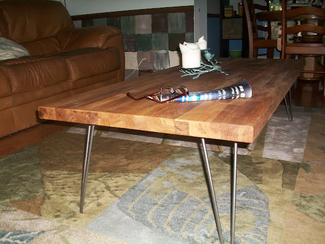 Butcher block coffee table and end table ikea hackers for Ikea butcher block table
