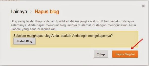 cara menghapus blog dari blogspot