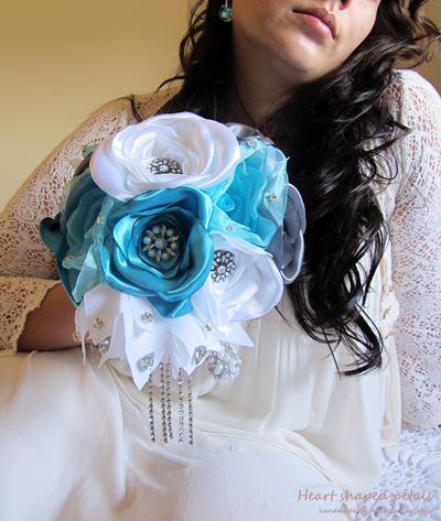 blue brooch bouquet with rhinestones