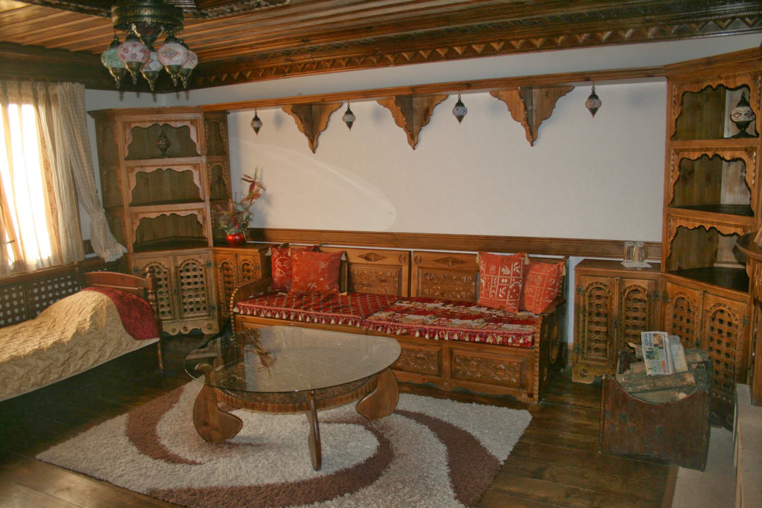 Lovely carved wood in the front room