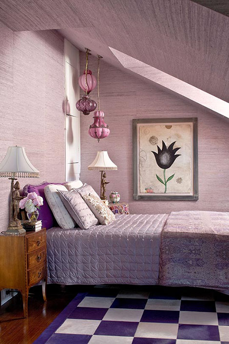 Eye for design decorating with purple it 39 s a for Lavender color bedroom designs