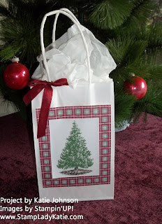 Christmas Gift Bag using the Stamp Set: Christmas Lodge, shown at the Christmas Open House in Stoughton