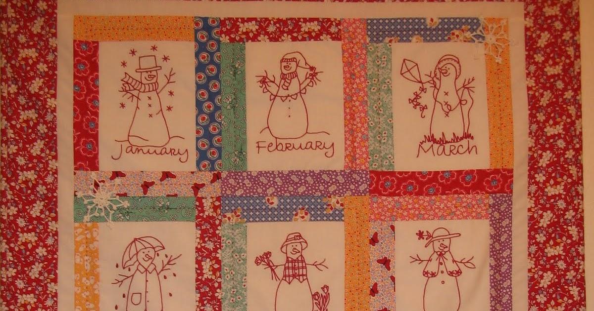 Monthly Calendar Quilt Patterns : Starwood quilter redwork snowmen calendar quilt
