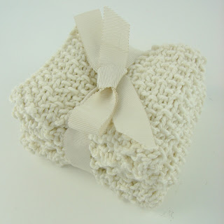 knit washcloths white