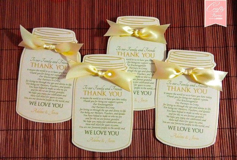 Romantic Mason Jar Wedding Thank You Card