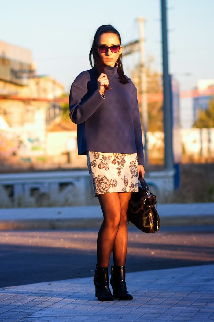 Front Row Shop Total Look with neoprene top and brocade floral skirt