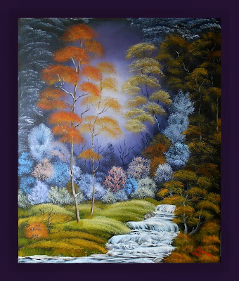 "Original painting in handmade landscape in the style fantasy ""Fabled Forest"" . Oil on canvas. In the style of Bob Ross."