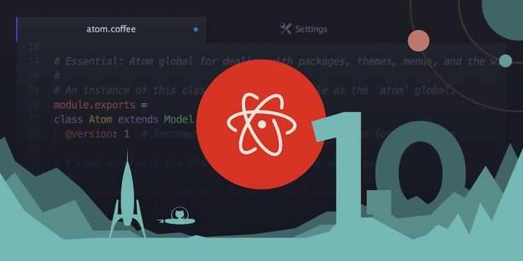 Banner comemorativo da primeira versão estável do editor de código Atom.