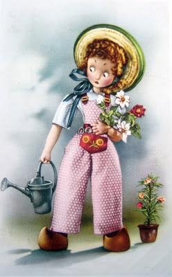 postal retro ilustración muñequita