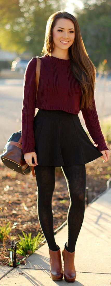 sweater and skirt pairing.