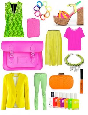 saia em neon, blusa em neon, bolsa em neon