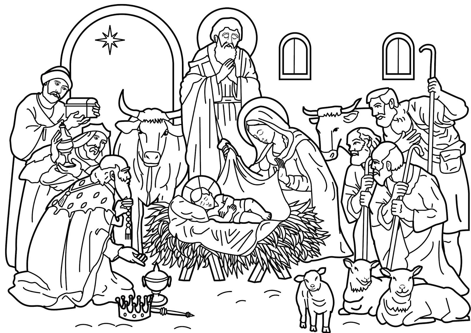 PARA COLOREAR Dibujos de Pesebre navideo
