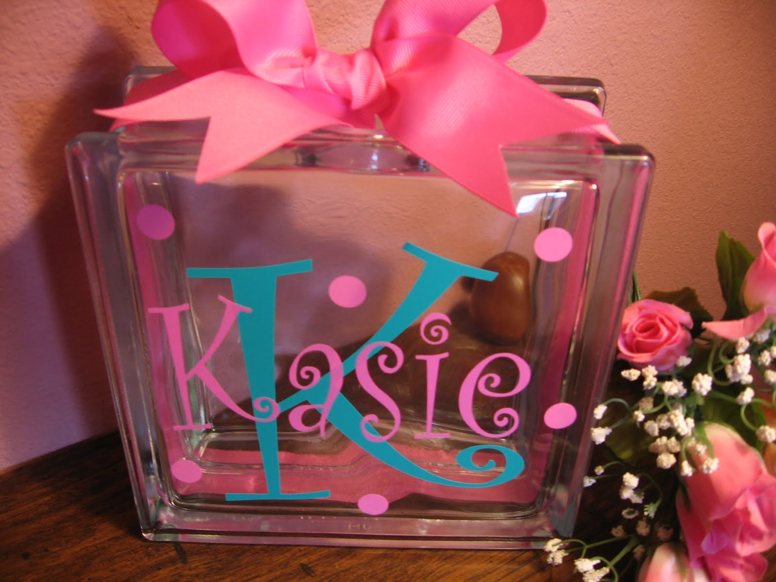 Santa 39 s gift shoppe year round monogrammed initial name for Glass block for crafts