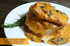 Slow Cooker Steak in Golden Mushroom Sauce