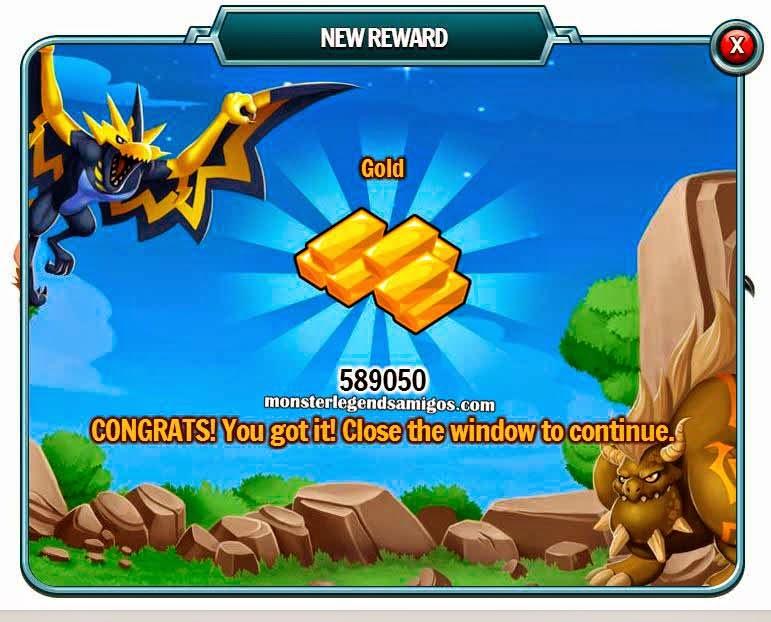 imagen del premio de oro gratis de monster legends