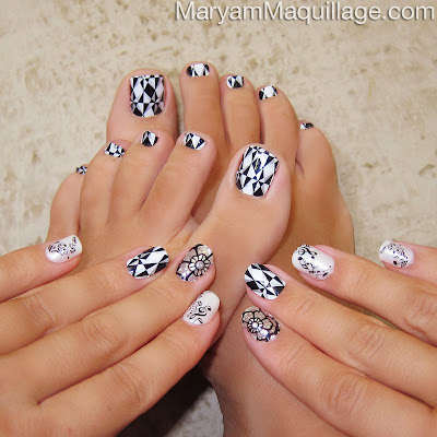 Maryam Maquillage Black White Mani Pedi Nail Art Nails Ideas