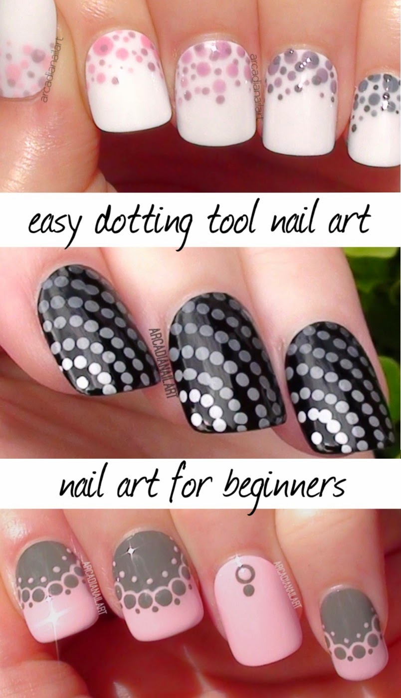 Arcadianailart 3 Easy Dotting Tool Nail Art Designs For Beginners