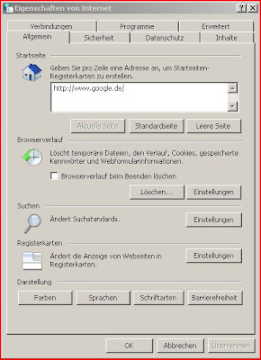 Screenshot Internet Explorer Eigenschaften