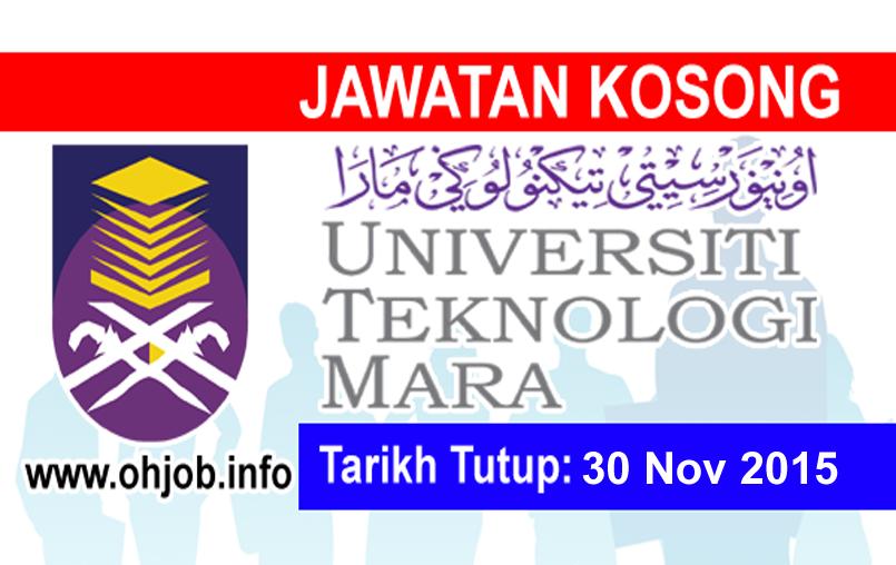 Jawatan Kerja Kosong Universiti Teknologi MARA (UiTM) Sarawak logo www.ohjob.info november 2015