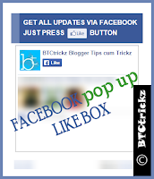 Add Facebook popup like box to blogger