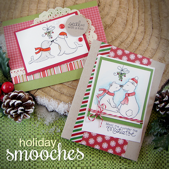 Mistletoe kissing Animal Christmas Cards by Jennifer Jackson | Holiday Smooches Stamp set by Newton's Nook Designs #newtonsnook