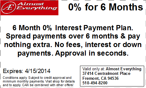 Coupon Almost Everything 6 Month Interest Free Payment Plan March 2014