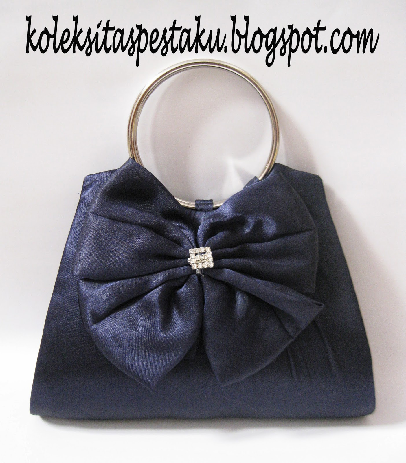 Gold Clutch Bag Simpel Tas Pesta Biru Donker