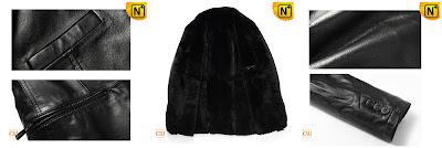 Men Real Black Sheepskin Coat