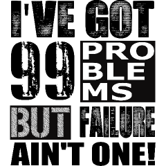 I've got ninety nine problems but failure ain't one
