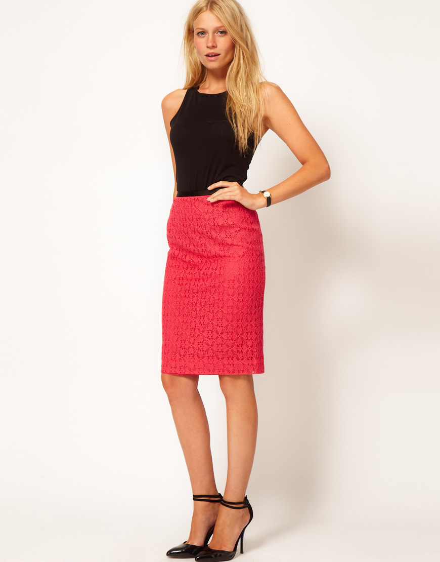 fashion for oasis lace pencil skirt