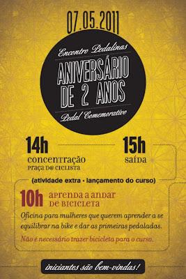 Flyer do pedal de aniversário das Pedalinas e lançamento do curso