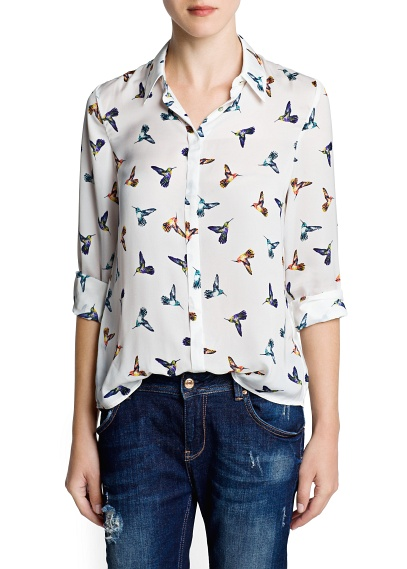 camisa pajaros mango
