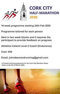 Start of a 14-wk training programme for the Cork City Half-Marathon